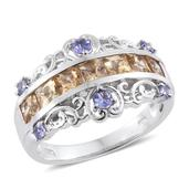 Imperial Topaz, Tanzanite Platinum Over Sterling Silver Ring (Size 7.0) TGW 2.26 cts.