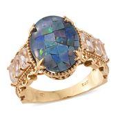 Australian Mosaic Opal, White Topaz 14K YG Over Sterling Silver Ring (Size 9.0) TGW 8.23 cts.