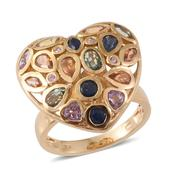 Multi Sapphire 14K YG Over Sterling Silver Heart Ring (Size 6.0) TGW 4.36 cts.