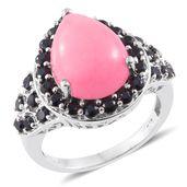 Burmese Pink Jade, Thai Black Spinel Platinum Over Sterling Silver Ring (Size 5.0) TGW 12.80 cts.