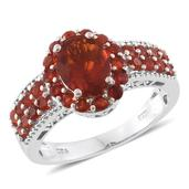 Crimson Fire Opal Platinum Over Sterling Silver Ring (Size 7.0) TGW 2.06 cts.