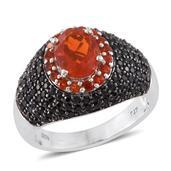 Crimson Fire Opal, Thai Black Spinel Black Rhodium & Platinum Over Sterling Silver Ring (Size 10.0) TGW 3.74 cts.