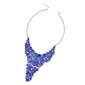 Blue Glass Silvertone Bib Statement Necklace (19 in) TGW 540.50 cts.