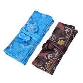 Embroidered Blue and Brown Polyester and Silk Jewelry Roll Travel Organizer Bag (10.5x8 in)
