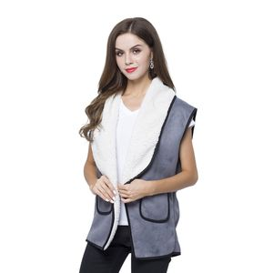 Gray 50% Polyester and 50% Faux Suede Fold Over Collar Vest with Pockets (One Size)