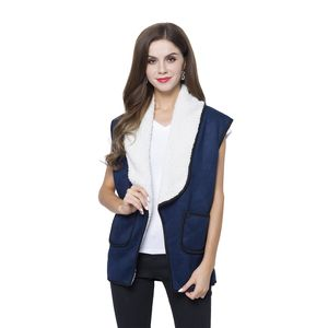 Navy 50% Polyester and 50% Faux Suede Fold Over Collar Vest with Pockets (One Size)