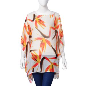 White and Red Crane Flower Pattern 100% Polyester Multi-Wear Sheer Poncho (One Size)