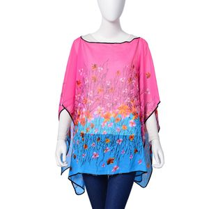 Pink and Blue Floral Print 100% Polyester Poncho (56x40 in)