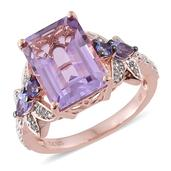 GP Rose De France Amethyst, Multi Gemstone 14K RG Over Sterling Silver Ring (Size 8.0) TGW 7.99 cts.