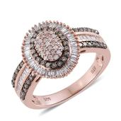 Natural Pink Diamond, Champagne Diamond Black Rhodium, 14K RG Over Sterling Silver Ring (Size 8.0) TDiaWt 1.00 cts, TGW 1.00 cts.