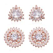 Simulated Diamond 14K RG Over Sterling Silver Set of 2 Stud Earrings TGW 4.26 cts.
