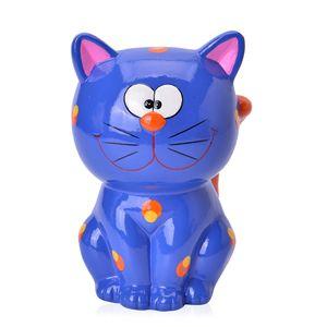 Blue Ceramic Cat Coin Bank