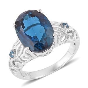London Blue Topaz Sterling Silver Ring (Size 9.0) TGW 8.08 cts.