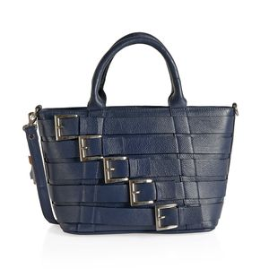 Navy Genuine Leather RFID Tote Buckle Bag with Removable Strap and Standing Studs (14x5x8.75 in)