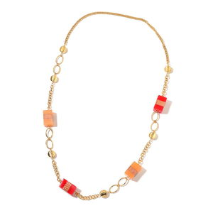 Orange and Red Chroma, Wooden Goldtone Necklace (42 in)