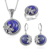 Lapis Lazuli Black Oxidized Stainless Steel Lever Back Earrings, Ring (Size 9) and Pendant With Chain (20 in) TGW 90.00 cts.