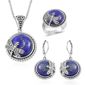 Lapis Lazuli Black Oxidized Stainless Steel Lever Back Earrings, Ring (Size 10) and Pendant With Chain (20 in) TGW 90.00 cts.