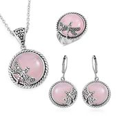 Galilea Rose Quartz Black Oxidized Stainless Steel Lever Back Earrings, Ring (Size 7) and Pendant With Chain (20 in) TGW 85.00 cts.