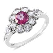 Pure Pink Mystic Topaz, White Topaz Stainless Steel Flower Ring (Size 8.0) TGW 2.70 cts.