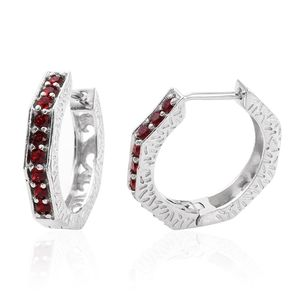 KARIS Collection - Platinum Bond Brass Huggie Hoop Earrings Made with SWAROVSKI Red Crystal