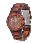 EON 1962 Swiss Movement Watch with Red & Black Sandal Wooden Band