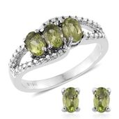 Ankur's Treasure Chest Hebei Peridot Stainless Steel Earrings and Ring (Size 5) TGW 2.45 cts.