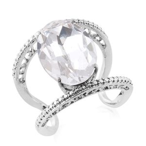 Stainless Steel Ring (Size 7.0) Made with SWAROVSKI White Crystal TGW 10.60 cts.