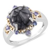 Austrian Pinolith, Tanzanite 14K YG and Platinum Over Sterling Silver Ring (Size 9.0) TGW 7.65 cts.