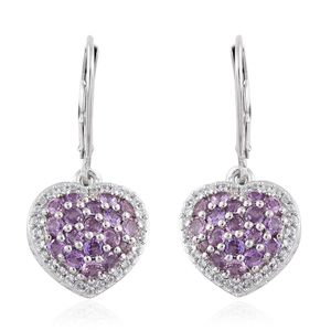 Mauve Sapphire, Cambodian Zircon Platinum Over Sterling Silver Heart Lever Back Earrings TGW 2.43 cts.