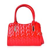 Red Quikted Pattern Tote Bag (12.4x4.4x8.1 in)