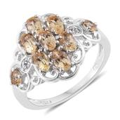 Imperial Topaz, Cambodian Zircon Platinum Over Sterling Silver Ring (Size 6.0) TGW 2.22 cts.