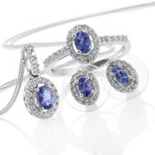 Premium AAA Tanzanite, Cambodian Zircon Platinum Over Sterling Silver Earrings, Ring (Size 5) and Pendant With Chain (20 in) TGW 2.69 cts.