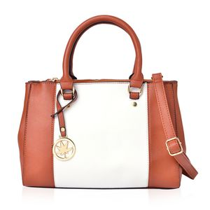 Brown and White Faux Leather Satchel Bag (12.5x4x9.1 in)