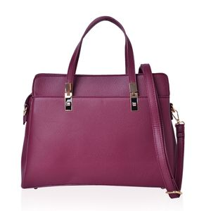 Magenta Faux Leather Handbag with Standing Studs and Removable Strap (14x5.5x10 in)