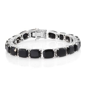 Australian Black Tourmaline Platinum Over Sterling Silver Faceted Tennis Bracelet (8.00 In) TGW 60.48 cts.