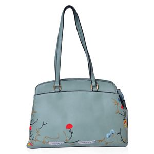 Green Eye-catching Embroidery Pattern Tote Bag (14x4.5x9.4 in)