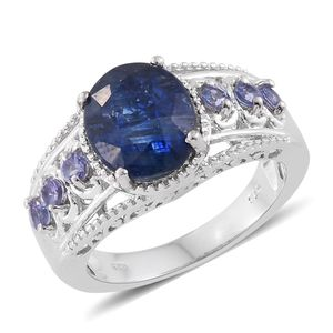 Himalayan Kyanite, Tanzanite Platinum Over Sterling Silver Ring (Size 9.0) TGW 5.80 cts.