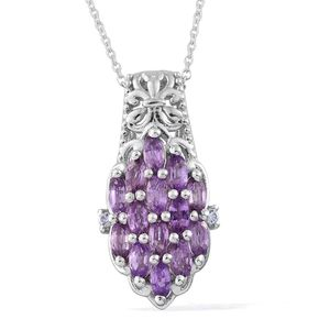 Mauve Sapphire, Tanzanite Platinum Over Sterling Silver Pendant With Chain (20 in) TGW 1.84 cts.