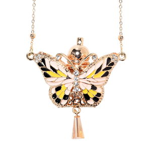 White and Champagne Glass, Austrian Crystal Enameled Goldtone Fragrance Necklace (27 in)