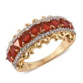 Crimson Fire Opal, Cambodian Zircon 14K YG Over Sterling Silver Ring (Size 7.0) TGW 1.88 cts.