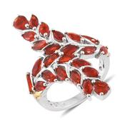 Crimson Fire Opal 14K YG and Platinum Over Sterling Silver Bypass Ring (Size 6.0) TGW 2.54 cts.