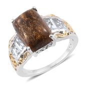 Australian Goldflake Feldspar, White Topaz 14K YG and Platinum Over Sterling Silver Ring (Size 7.0) TGW 9.90 cts.