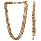 ION Plated YG Stainless Steel Bracelet (9 in) and Chain (24.00 In)