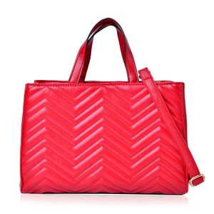 Designer Inspired- Cherry Red Chevron Quilted Faux Leather Magnetic Snap Structure Handbag with Standing Studs and Removable Shoulder Strap (45 In) (13x5x8 In)