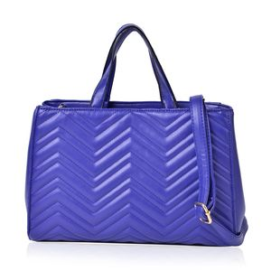 Designer Inspired- Royal Blue Chevron Quilted Faux Leather Magnetic Snap Structure Handbag with Standing Studs and Removable Shoulder Strap (45 In) (13x5x8 In)