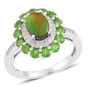 Canadian Ammolite, Russian Diopside, White Zircon Sterling Silver Ring (Size 7.0) TGW 2.09 cts.