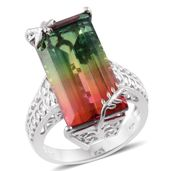 Rainbow Quartz Platinum Over Sterling Silver Ring (Size 11.0) TGW 23.00 cts.
