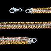 Tricolor Sterling Silver Chain (22 in)