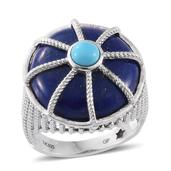 GP Lapis Lazuli, Arizona Sleeping Beauty Turquoise Platinum Over Sterling Silver Ring (Size 7.0) TGW 24.32 cts.