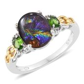 Canadian Ammolite, Russian Diopside 14K YG and Platinum Over Sterling Silver Ring (Size 10.0) TGW 2.82 cts.